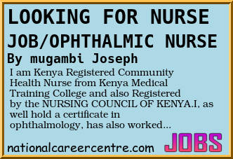 i am kenya registered community health nurse from kenya medical training college and also registered by the nursing council of kenya