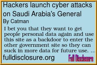 Forum Post: Hackers launch cyber attacks on Saudi Arabia's General