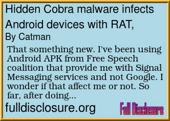 Forum Post: Hidden Cobra malware infects Android devices